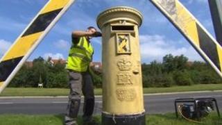 Gold post box in Ingleby Barwick