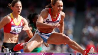Jessica Ennis in the 100m hurdles