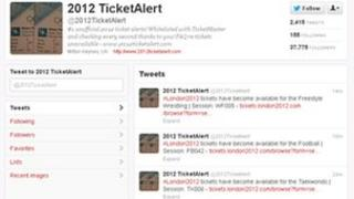 screengrab of @2012TicketAlert
