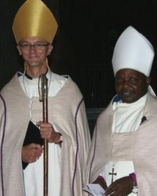Bishop John with Bishop Godfrey at the launch of the partnership between the dioceses of Worcester and Morogoro in 2010