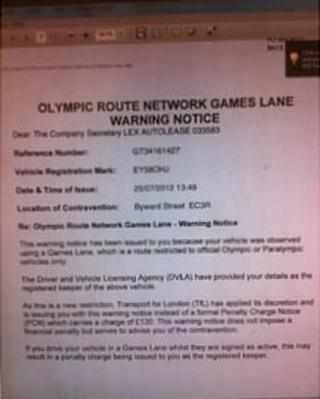Transport for London warning notice for driving in a Games Lane