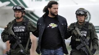 Erickson Vargas, alias Sebastian, under arrest
