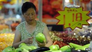 A consumer buying vegetables in China