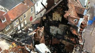 Aerial view of the fire-damaged Cupola House in Bury St Edmunds