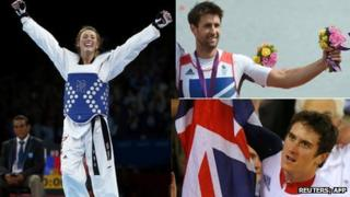 Jade Jones( Reuters/Darren Staples); top: Tom James (AFP/GettyImages/Franciso Leonfrancisco); bottom: Geraint Thomas (Reuters/Cathal McNaughton)