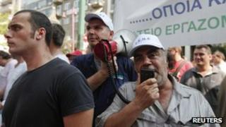 Shipyard workers take part in a protest rally outside Greece's Finance Ministry in Athens