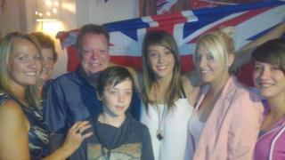 Jade Jones with her mother Jayne (far left), grandfather Martin Foulkes, and other friends and family members