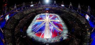 Union flag in Olympic stadium