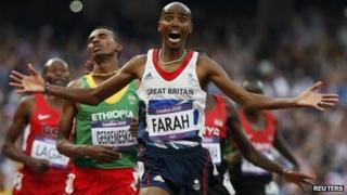 "Britain""s Mo Farah reacts as he wins the men""s 5000m final at the London 2012 Olympic Games at the Olympic Stadium in this August 11, 2012 file photo."
