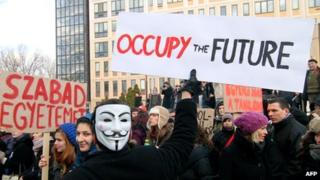 Hungarian students protest against the government's education policy
