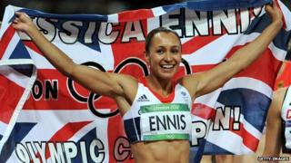 Team GB athlete Jessica Ennis celebrating her gold medal with a Union Jack