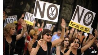 State workers protest against the Spanish government's latest austerity measures, in Madrid on August 17, 2012.