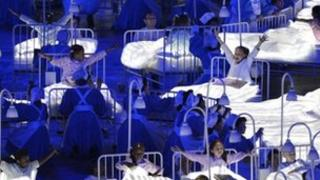 NHS staff taking part in the London 2012 Olympic opening ceremony