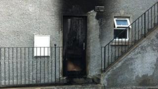 Burned front door