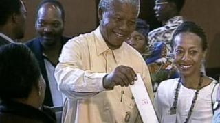 Nelson Mandela voting in 1994