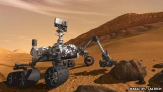 Artist's impression of Curiosity on Mars