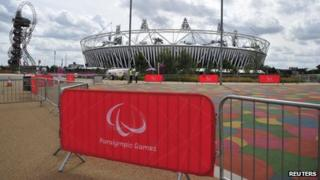 Paralympic Games signs go up around the Olympic Park