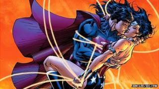 Super Man and Wonder Woman from DC Comics' Justice League 12