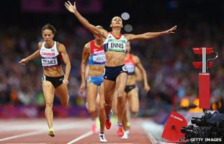 "Team GB's Jessica Ennis crosses the line during the Women""s Heptathlon 800m"