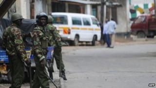 Police patrol Mombasa, 29 August