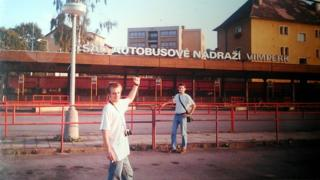 Rob and a friend at Vimperk bus station in 1992