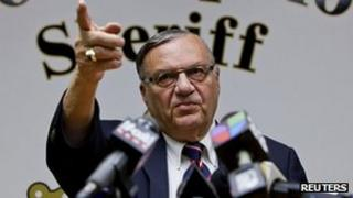 Maricopa County Sheriff Joe Arpaio holding a news conference in Phoenix, Arizona, on 31 August, following the halting of an abuse-of-power investigation against him