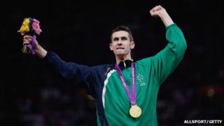 Michael McKillop after medal presentation