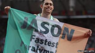 Jason Smyth holding Irish flag