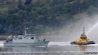 HMS Pembroke returning to base