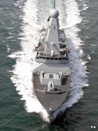 HMS Daring at sea