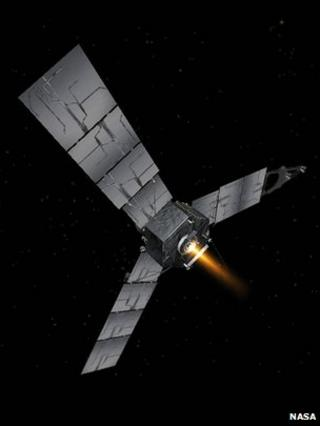 Artist's impression of Juno firing its Leros engine
