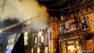 The fire at the Ryde Castle Hotel on the Isle of Wight (copyright: JBMTB MEDIA)