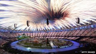 Fireworks at the opening ceremony of the Olympic Games in London