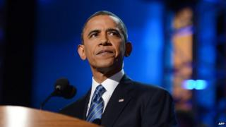 US President Barack Obama pauses during his nomination acceptance speech at the Time Warner Cable Arena in Charlotte, North Carolina, on September 6, 2012