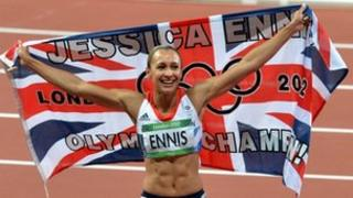 Jessica Ennis celebrates winning heptathlon