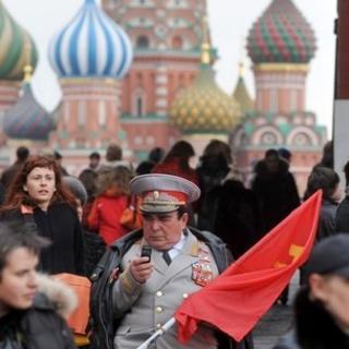 Russian man using mobile