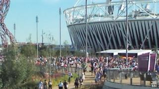 Fans in the Olympic Park on Saturday