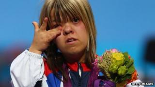 Zoe Newson wipes away a tear after winning a bronze medal at the 2012 Paralympics