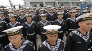 Chinese navy sailors at a naval base in Hong Kong (file photo)