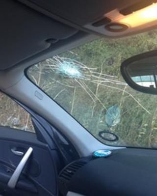 Windscreen damage to Georgina Hillier's car