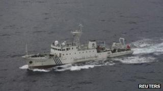 One of two Chinese patrol ships, identified as Haijian 46 by the Japan Coast Guard, near the disputed islands in the East China Sea, known as Senkaku in Japan or Diaoyu in China, in this handout file photo from December 2008