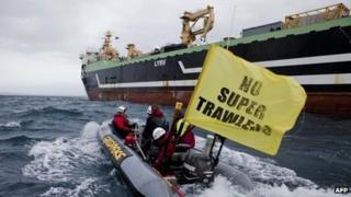 Handout photo from Greenpeace taken on 30 August, 2012, of the Abel Tasman, formerly the FV Margiris