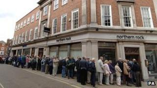 Savers queuing outside Northern Rock Harrogate branch