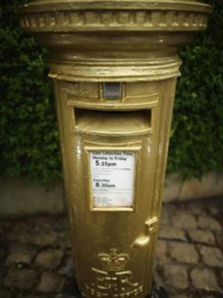 Gold post box