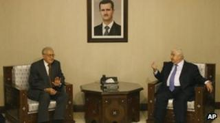 Lakhdar Brahimi meets Syrian Foreign Minister Walid Muallem in Damascus. Photo: 13 September 2012