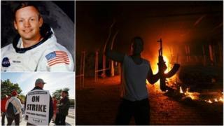 Neil Armstrong, a Libya rioter, striking Chicago teachers