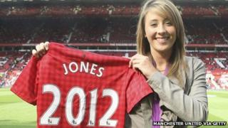 Jade Jones with her Manchester United shirt