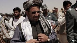 Helmand province governor Mohammad Ghulab Mangal at a police graduation ceremony held at a US base in Helmand