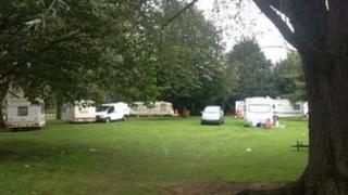 Traveller caravans at Chilwell School