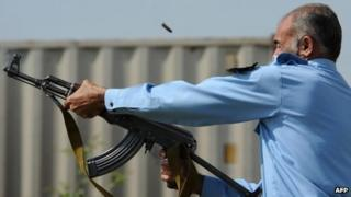 Riot policeman in Islamabad